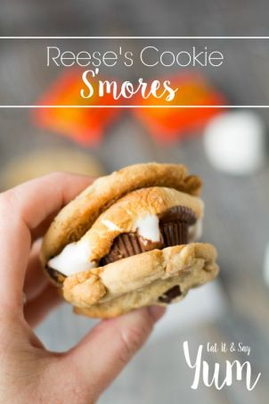 Reeses-Cookie-Smores-with-toasted-marshmallows-chewy-cookies-and-of-course-a-Reeses-Peanut-Butter-cup